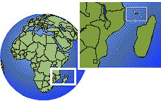 Comoros time zone location map borders
