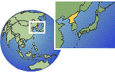 Pyongyang, Korea, Democratic People's Republic of time zone location map borders