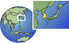 Taejon, South Korea time zone location map borders