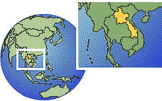 Lao People's Democratic Republic time zone location map borders