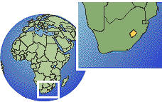 Lesotho as a marked location on the globe