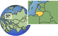 Kaunas, Lithuania time zone location map borders