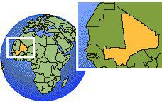 Mali  time zone location map borders