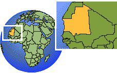 Nouadhibou, Mauritania time zone location map borders