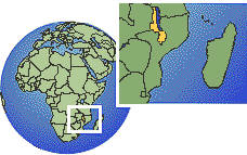 Malawi as a marked location on the globe