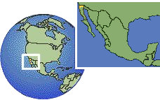 Baja California (Border Region), Mexico as a marked location on the globe