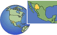 Chihuahua, Mexico time zone location map borders