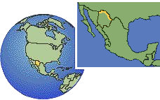 Chihuahua (Border Region), Mexico as a marked location on the globe