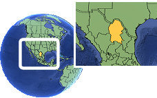 Coahuila, Mexico  time zone location map borders