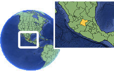 León, Guanajuato, Mexico time zone location map borders