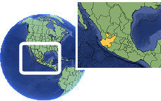Jalisco, Mexico  time zone location map borders