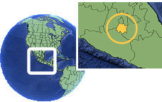 Cuernavaca, Morelos, Mexico time zone location map borders