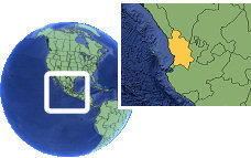 Tepic, Nayarit, Mexico time zone location map borders