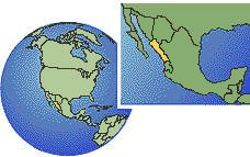 Los Mochis, Sinaloa, Mexico  time zone location map borders