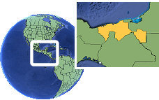 Villahermosa, Tabasco, Mexico time zone location map borders