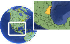 Tamaulipas, Mexico time zone location map borders