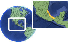 Xalapa, Veracruz, Mexico time zone location map borders
