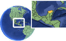 Mérida, Yucatan, Mexico time zone location map borders