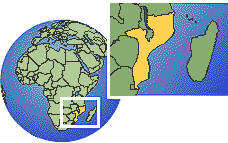 Mozambique as a marked location on the globe