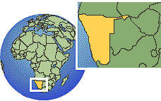 Namibia as a marked location on the globe