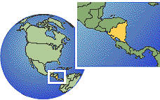 Nicaragua time zone location map borders