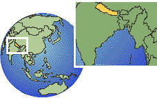 Nepal time zone location map borders