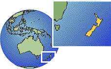 Auckland, New Zealand  time zone location map borders