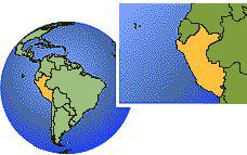 Lima, Peru  time zone location map borders