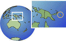 Bougainville, Papua New Guinea as a marked location on the globe