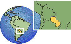 Paraguay  time zone location map borders