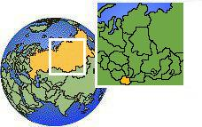 Altai Republic, Russia as a marked location on the globe