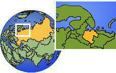 Arkhangel', Russia time zone location map borders