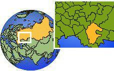 Bashkortostan, Russia time zone location map borders