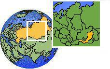 Buryatia, Russia time zone location map borders