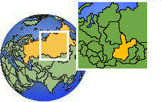 Irkutsk, Russia  time zone location map borders