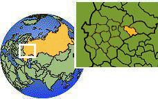 Ivanovo, Russia time zone location map borders