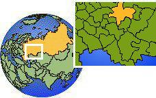 Kirov, Russia time zone location map borders