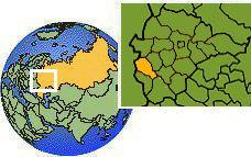 Kursk, Russia time zone location map borders