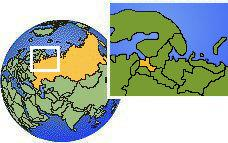 Leningradskaya Oblast', Russia time zone location map borders
