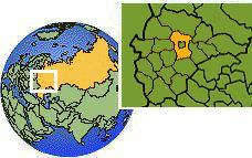 Moskva, Russia time zone location map borders