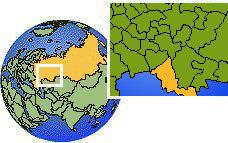 Orenburg, Russia time zone location map borders