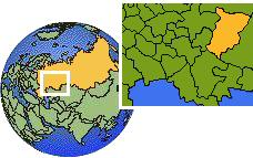 Dobryanka, Perm, Russia time zone location map borders