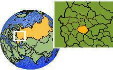 Ryazan', Russia as a marked location on the globe