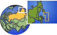 Sakhalin (Kuril Islands), Russia time zone location map borders