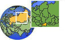 Tuva, Russia time zone location map borders