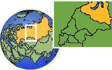 Salekhard, Yamalo-Nenets, Russia time zone location map borders