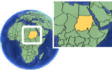 Sudan time zone location map borders