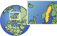 Sweden as a marked location on the globe