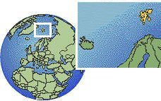 Svalbard and Jan Mayen time zone location map borders