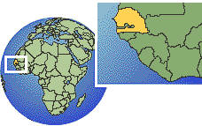Senegal  time zone location map borders